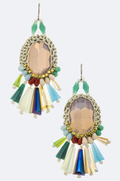 Crystal & Fringe Bead Earrings