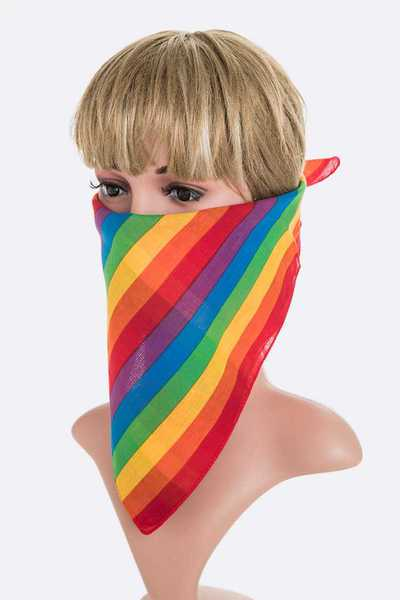 Rainbow Stripe Square Bandana