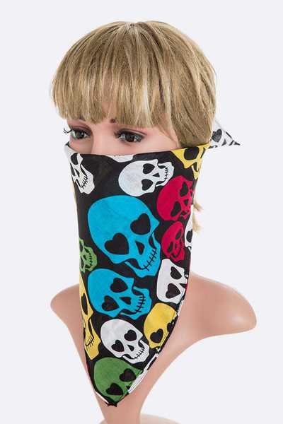 Multi Colored Skull Pattern Square Bandana