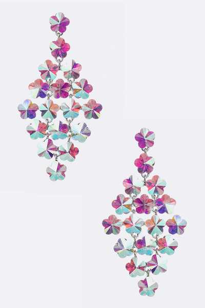 Crystal Flower Statement Earrings