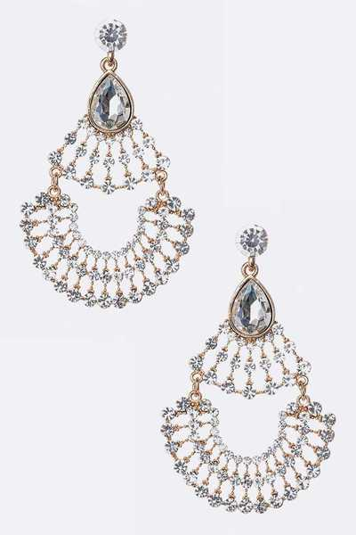 Statement Crystal Glister Chandelier Earrings
