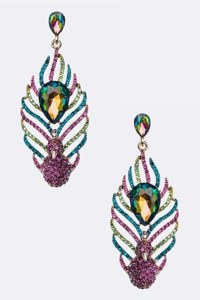 Mix Color Peacock Crystal Statement Earrings