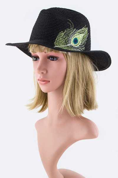 Festival Peacock Feather Embroidery Straw Panama Hat