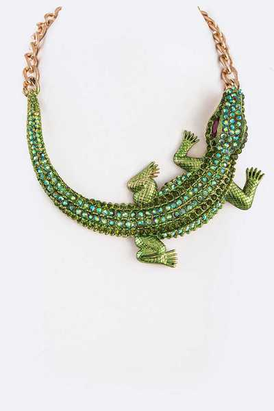 Crystal Lizard Iconic Collar Necklace
