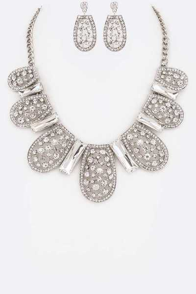 Crystal Statement Collar Necklace Set