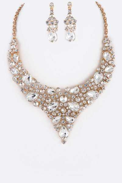 Bejeweled Statement Crystal Necklace Set
