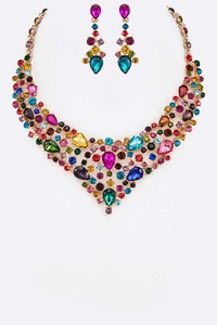 Crystal Statement Formal Necklace Set