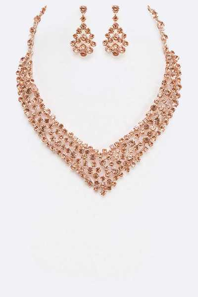 Crystal Glistering Statement Necklace Set