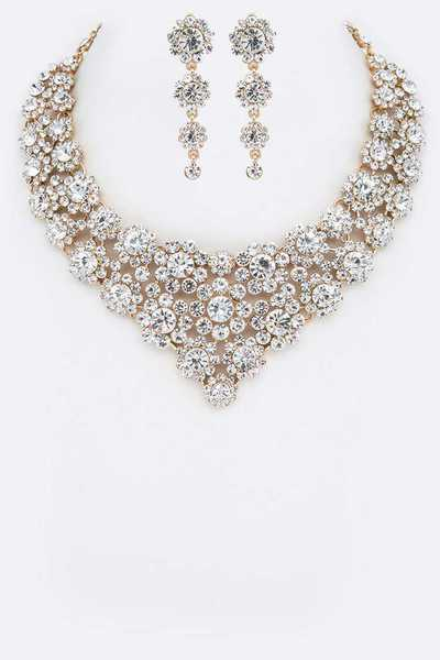 Crystal Statement Flower Bib Necklace Set
