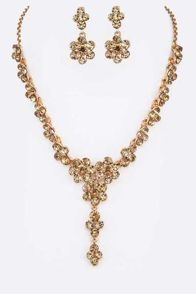 Crystal Drop Statement Necklace Set