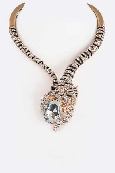 Crystal Tiger Statement Collar Necklace