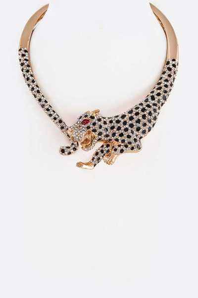 Cheetah Crystal Iconic CollarNecklace