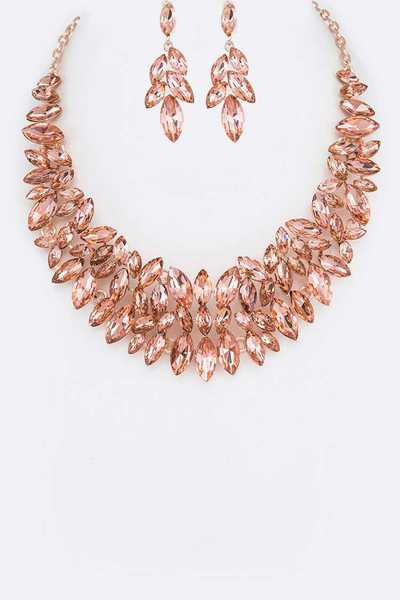 Crystal Marquis Statement Necklace Set