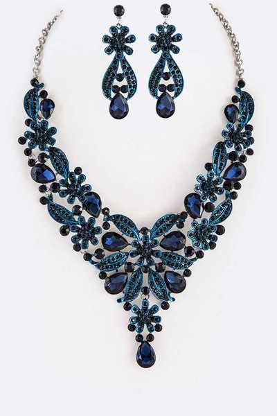 Enamel Crystal Statement Necklace Set