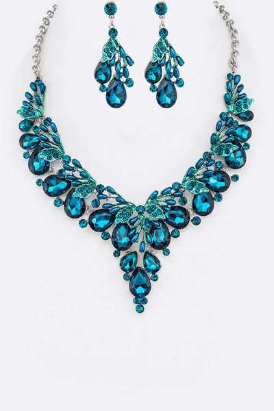 Crystal Enamel Statement Necklace Set