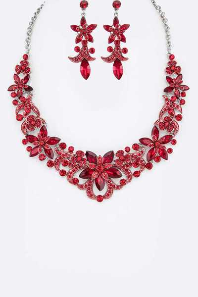 Crystal Flower Statement Necklace Set