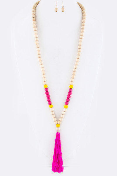 Wooden Beads & Tassel Necklace Set
