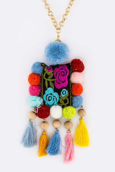 PomPom & Tassels Embroidered Pendant Necklace