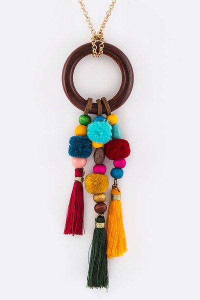 Wooden Ring & PomPom Tassels Necklace Set