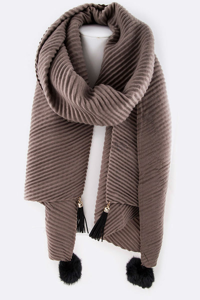 Tassels & Fur PomPom Pleated Scarf
