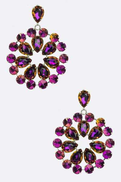 Large Crystal Festival Statement Clip On Earrings