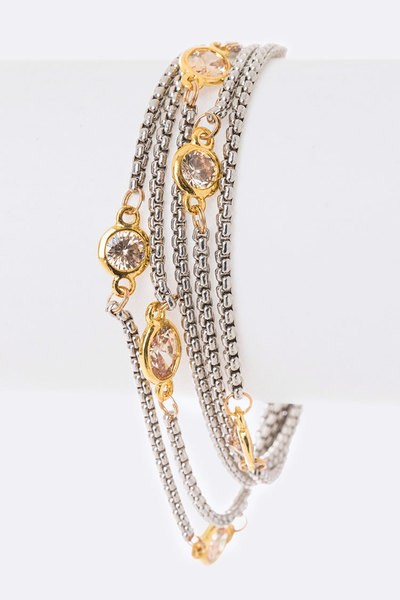 Oval & Round CZ Layer Station Bracelet