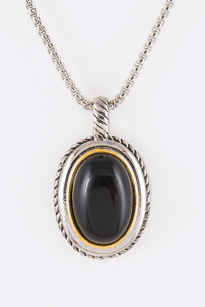Designed 2 Tone Oval Pendant Necklace