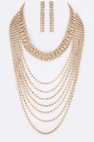 Rhinestone Layer Statement Necklace Set