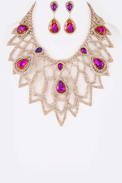 Crystal Statement Bib Necklace Set