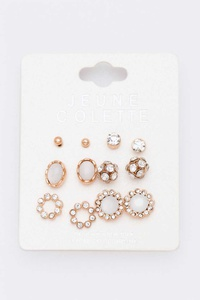 6 Pairs Mix Crystal Stud Earrings Set