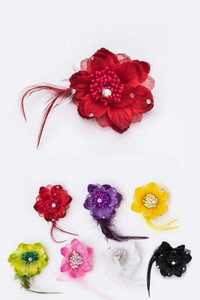 Flower Feather Hair Clip Pin Set