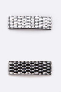 Rhinestone Snap Hair Clip Set