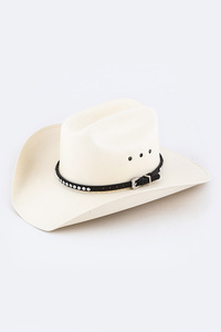 Crystal Studs Leather Hat Band