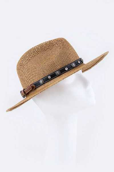 Western Cross Stud Adjustable Hat Band
