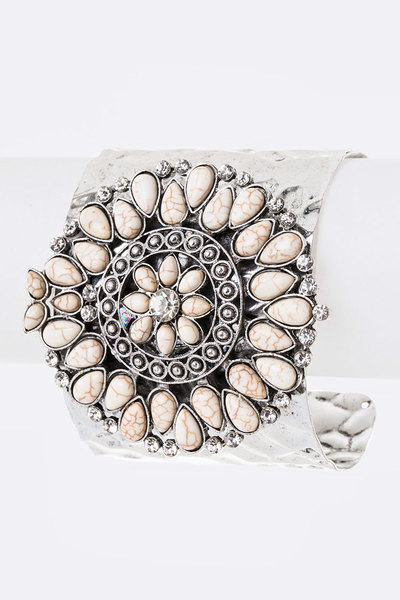 Stone Medallion Adjustable Cuff Bangle