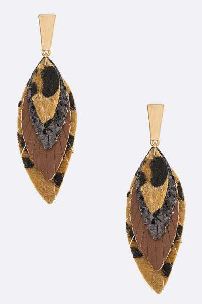 Mix Layer Animal Printed Drop Earrings