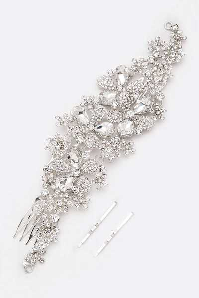 Crystal Flower Comb Pin Head Piece