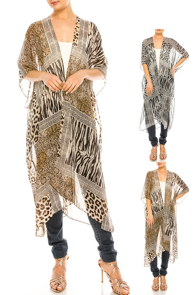 Animal Print Sheer Kimono Duster Set