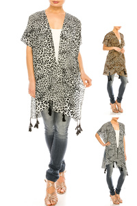 Cheetah Printed Tassel Light Weight Kimono