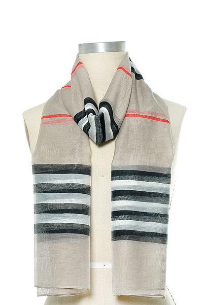 Stripe Print Oblong Scarf Set