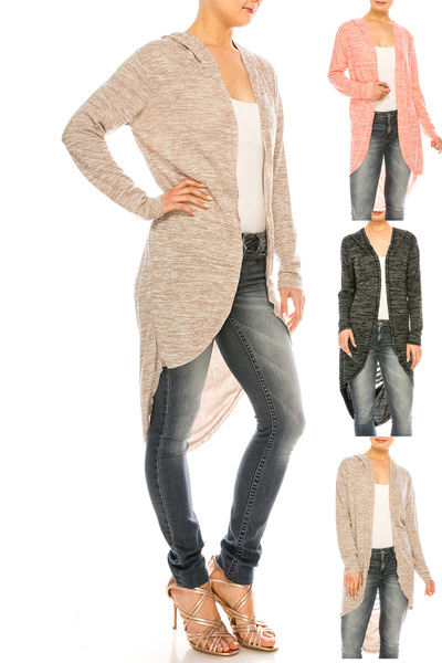 Marled Jersey Knit Solid Cardigan Set