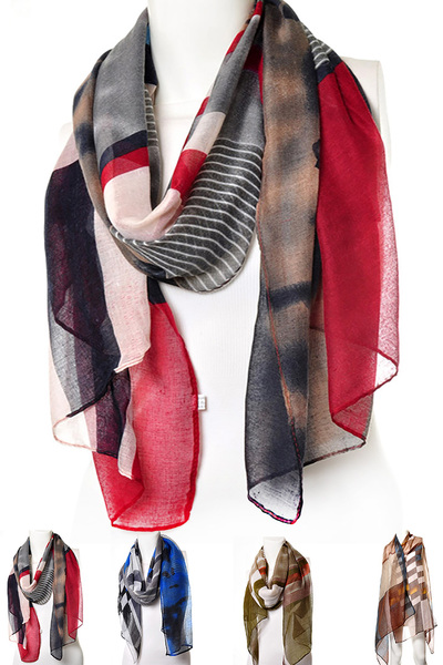 Stripes & Checker Mix Print Scarf
