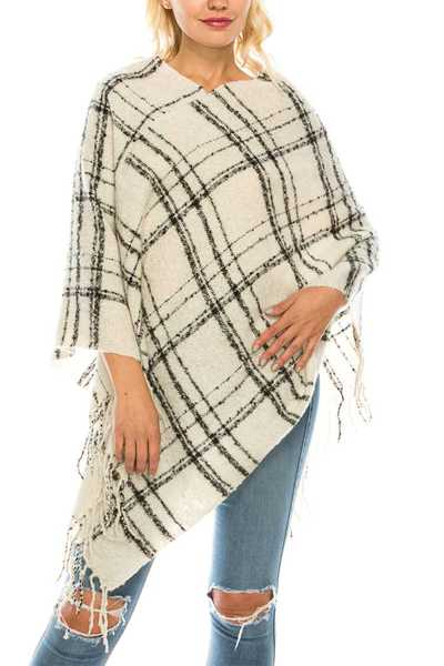 Plaid Print Fringe Poncho Set