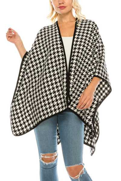 Houndstooth Print Cape Shawl