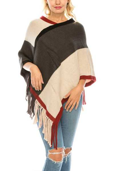 Color Block Fringe Poncho Set