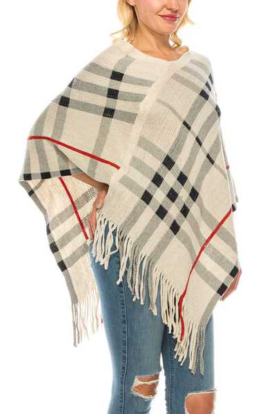Plaid Intarsia Fringe Poncho Set