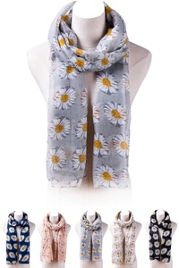 Daisy Floral Print Lightweight Scarf