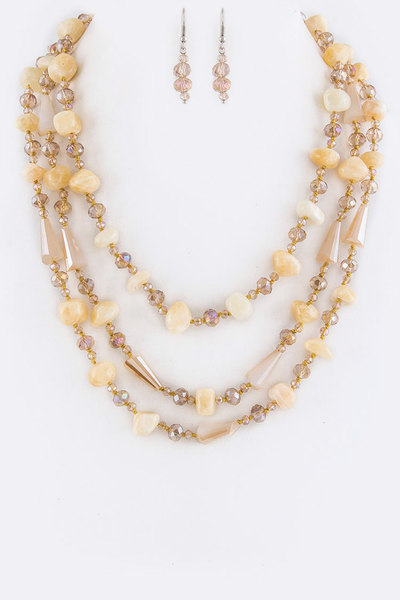 Mix Beads & Naggets Layer Necklace Set