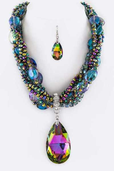 Jumbo Crystal Teardrop & Layer Mix Beads Necklace Set