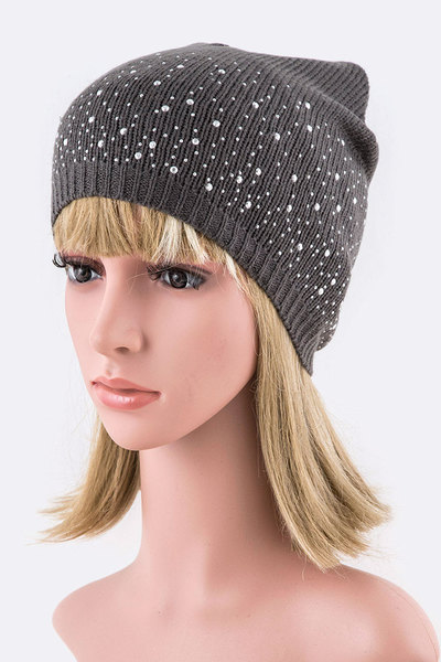 Crystal Accent Fashion Beanie Set